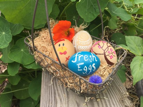 decorated blown eggs in a display basket