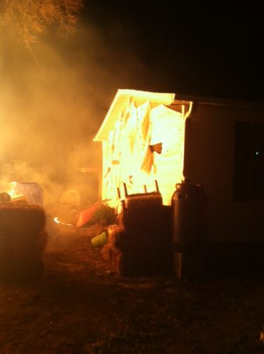 chicken coop fire melted the siding on the house