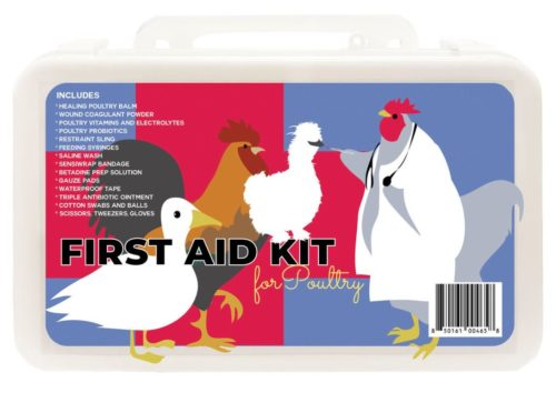 Photo of the front of a chicken first aid kit