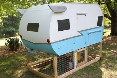 vintage trailer coop, outside view