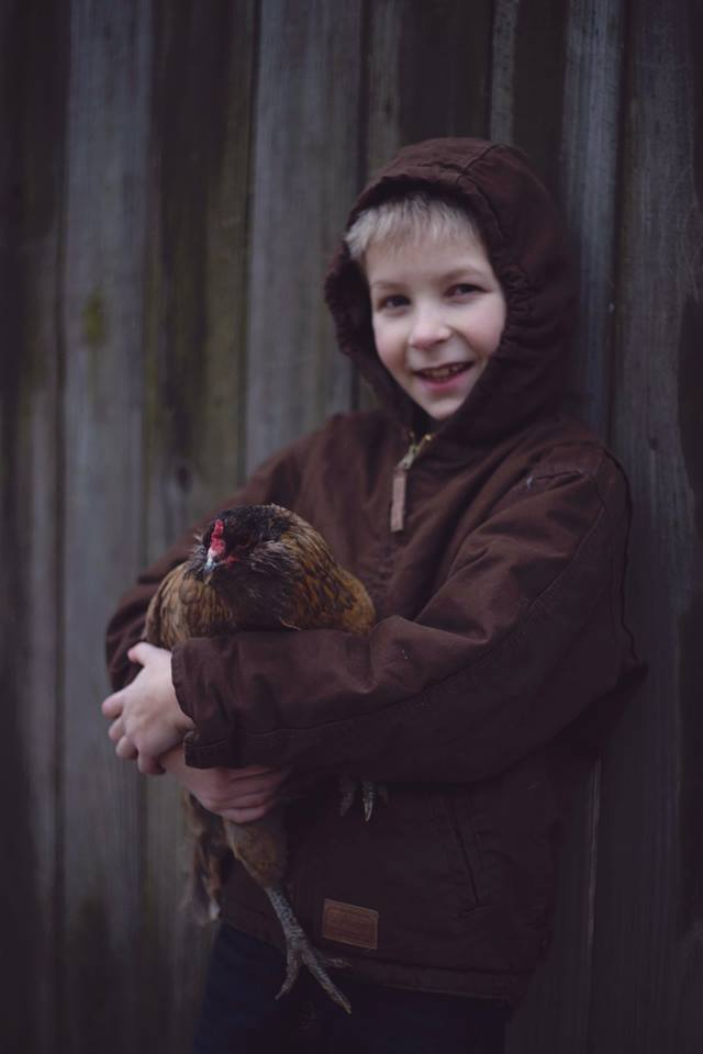 Kids with a flock: Pete and Sprinkles