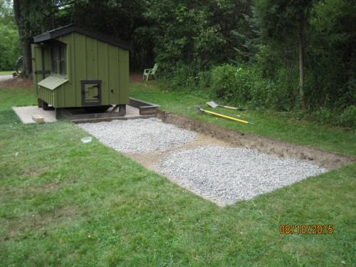 custom chicken run gravel drainage