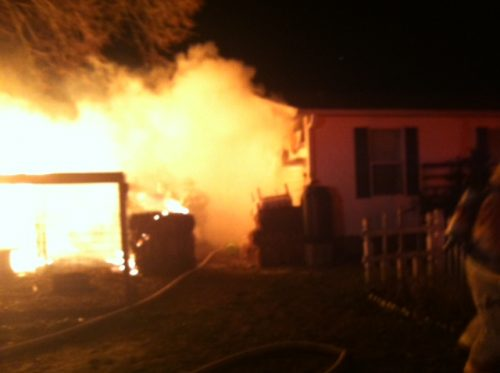 chicken coop fire: putting it out