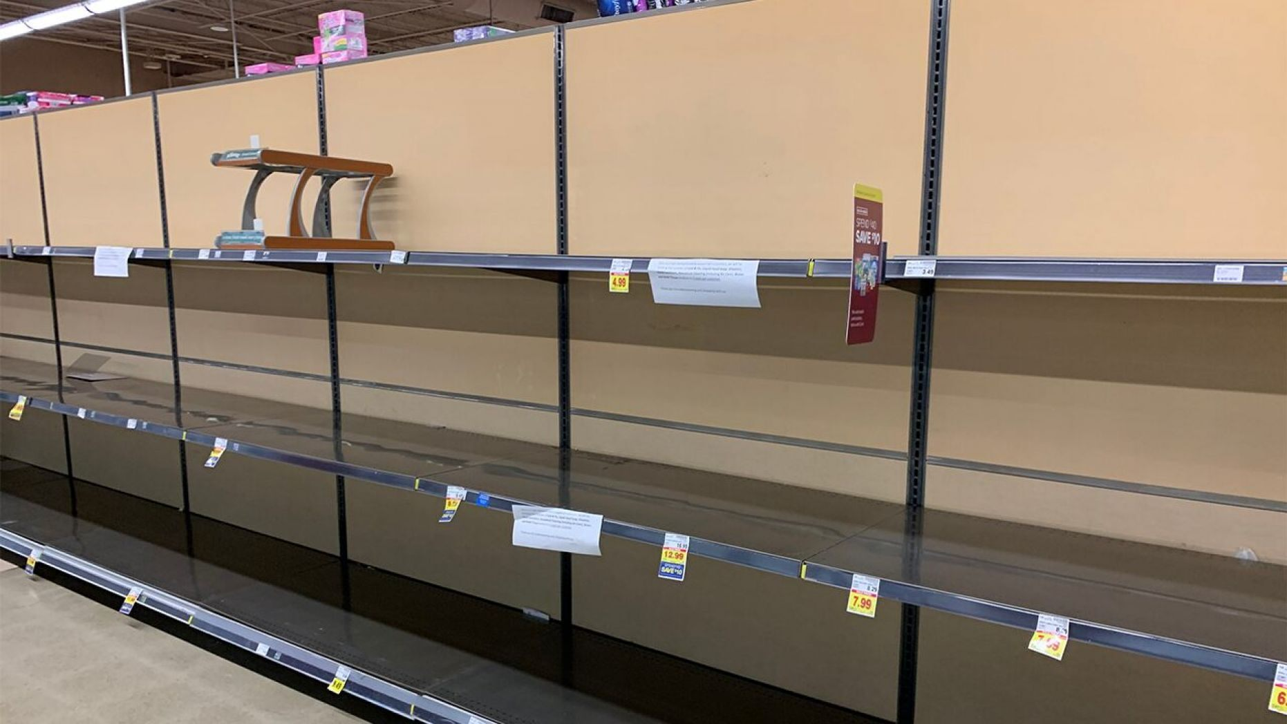 Empty egg shelves in grocery stores
